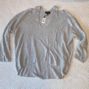NWT express lightweight gray ribbed sweater